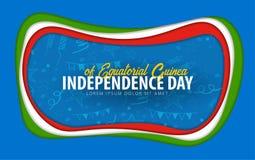Equatorial Guine Unabhängigkeitstaggrußkarte Papierschnittart lizenzfreie abbildung