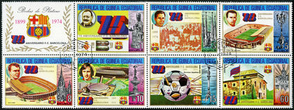 EQUATORIAL GUINEA - 1974: Barcelona Soccer Team Royalty Free Stock Photos