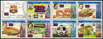 EQUATORIAL GUINEA - 1974: Barcelona Soccer Team Royalty Free Stock Photos
