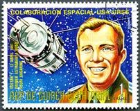 EQUATORIAL GUINEA - 1975:Vostok1 and Yuri Gagarin Stock Photo