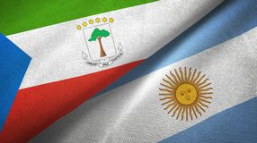 Equatorial Guinea and Argentina two flags textile cloth, fabric texture. Equatorial Guinea and Argentina flags together textile cloth, fabric texture vector illustration