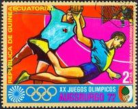 EQUATORIAL GUINEA - CIRCA 1972: A stamp printed in Equatorial Guinea shows handball, circa 1972.