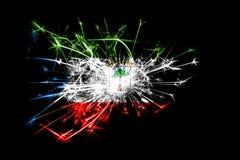 Equatorial Guinea fireworks sparkling flag. New Year 2019 and Christmas party concept. Equatorial Guinea fireworks sparkling flag. New Year 2019 and Christmas stock photos