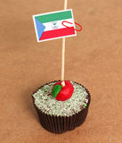 Equatorial Guinea flag on a apple cupcake Royalty Free Stock Photography