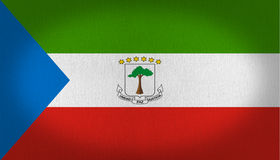 Equatorial Guinea flag. Composed by three horizontal lines one green, another in white and a red one in the bottom, a blue triangle in the left side and a tree vector illustration