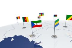Equatorial guinea flag. Country flag with chrome flagpole on the world map with neighbors countries borders. 3d illustration rendering Royalty Free Stock Photos