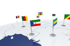 Equatorial Guinea flag. Country flag with chrome flagpole on the world map with neighbors countries borders. 3d illustration rendering flag Royalty Free Stock Photography