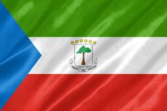 Equatorial Guinea Flag. With waving on satin texture vector illustration