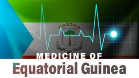 Equatorial Guinea flag and heartbeat line illustration. Medicine of Equatorial Guinea with country name. Background royalty free illustration