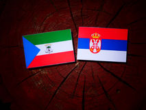 Equatorial Guinea flag with Serbian flag on a tree stump isolate. D royalty free stock images