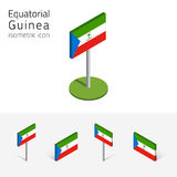 Equatorial Guinea flag, vector set of 3D isometric flat icons. Republic of Equatorial Guinea flag, vector set of isometric flat icons, 3D style. African country Stock Image