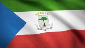Equatorial Guinea flag waving animation. 4K Seamless Loopable Flag of Equatorial Guinea.  Stock Images
