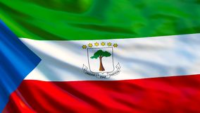 Equatorial Guinea flag. Waving flag of Equatorial Guinea 3d illustration. Malabo vector illustration