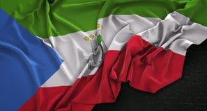 Equatorial Guinea Flag Wrinkled On Dark Background 3D Render Stock Images