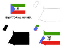 Equatorial Guinea map vector, Equatorial Guinea flag vector, isolated Equatorial Guinea Royalty Free Stock Photos