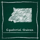Equatorial Guinea outline vector map hand drawn. Equatorial Guinea outline vector map hand drawn with chalk on a green blackboard. Chalkboard scribble in Royalty Free Stock Photo