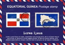 Equatorial Guinea postage stamp, postage stamp, vintage stamp, air mail envelope. Royalty Free Stock Photos