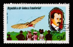 Equatorial Guinea postage stamp shows Otto Lilienthal 1894 and O. Wright portrait, circa 1979 Royalty Free Stock Photography
