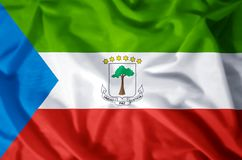 Equatorial Guinea. Stylish waving and closeup flag illustration. Perfect for background or texture purposes stock illustration