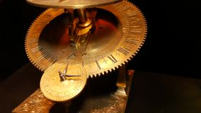 Equatorial sundial. Time measurement using sunshine and compass. Naval equipment for ships in the Middle Ages stock video footage