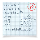 Equazione della prova e dell'esame di per la matematica Fotografie Stock