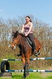 Equestre - salto del cavallo Fotografie Stock Libere da Diritti