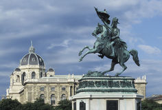 Equestrial statue in Heldenplatz Vienna. The equestrian statue of Archduke Karl in Heldenplatz, Vienna, Austria. The Museum of Natural History ( Stock Image