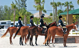 Equestrian Afternoon. Four female contestants at an equestrian event Royalty Free Stock Photos