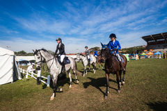 Equestrian Arena Horses Riders Parade Royalty Free Stock Images