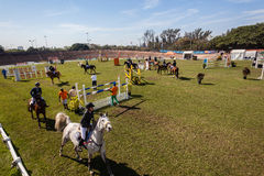Equestrian Arena Horses Riders Parade Royalty Free Stock Photos