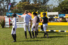 Equestrian Arena Riders Checking Course Stock Photography
