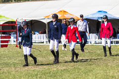 Equestrian Arena Riders Checking Course Stock Images