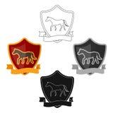 Equestrian blaze icon in cartoon,black style isolated on white background. Hippodrome and horse symbol stock vector. Equestrian blaze icon in cartoon,black stock illustration