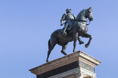 Equestrian bronze statue of Bartolomeo Colleoni in Venice Stock Photo