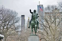 An equestrian bronze statue of George Washington in New York City. NEW YORK CITY, NY -An equestrian bronze statue of George Washington in Union Square, New York Royalty Free Stock Photo