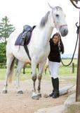 Equestrian com cavalo imagens de stock