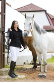 Equestrian com cavalo imagem de stock