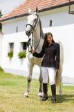 Equestrian com cavalo fotos de stock