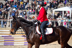 Equestrian competition girl trophy winner Stock Photography