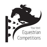 Equestrian competitions - vector illustration of horse. Equestrian competitions - vector illustration of jumping horse - poster Stock Photo