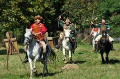 Equestrian demonstracja w tradycyjnych kostiumach Zdjęcia Royalty Free
