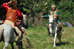 Equestrian demonstration in traditional costumes Stock Photos