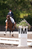 Equestrian Dressage. Dressage ring marker with flowers. Out of focus rider in background going through her routine for the judges stock photos