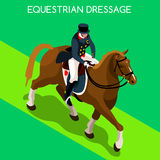 Equestrian Dressage Summer Games Icon Set.3D Isometric Jockey and Horse Sporting Competition. Royalty Free Stock Photos