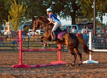 Equestrian Event - Jumper. From side Royalty Free Stock Photo