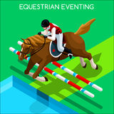 Equestrian Eventing Summer Games Icon Set.3D Isometric Jockey and Horse Jump Sporting Competition. Royalty Free Stock Photo