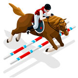 Equestrian Eventing Summer Games Icon Set.Olympics 3D Isometric Jockey and Horse Jump Sporting Competition.Sport Infographic Royalty Free Stock Image
