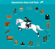 Equestrian Gear and Tack. Woman Riding Jumping Horse in show outfit. Equestrian Sport Equipment Infographic Items. Gear and Tack accessories.  Jacket, breeches Stock Image