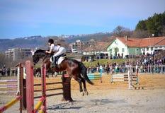 Equestrian girl jump Varna Bulgaria Stock Photography