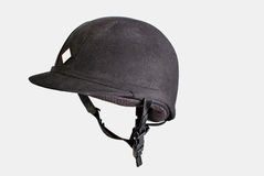 Black equestrian helmet Stock Images